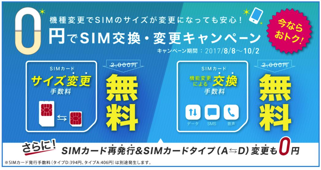 IIJmio SIMカード変更無料